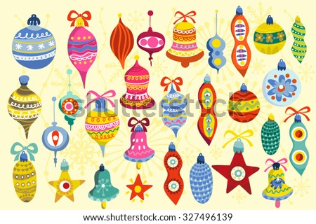 Big and Bright Christmas retro set of cute elements.  - stock vector