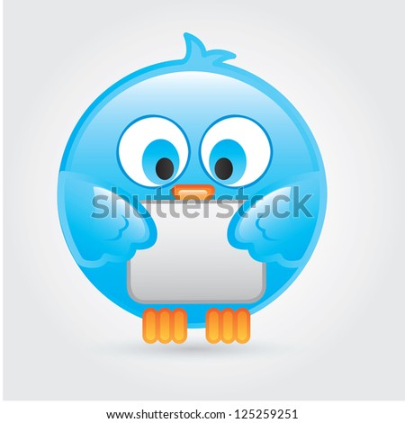 Big and comic bird over white background vector illustration - stock vector