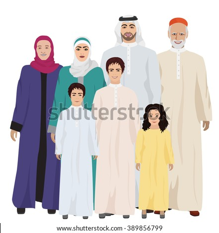 Big and Happy arab Family vector illustration. Arab family together - stock vector