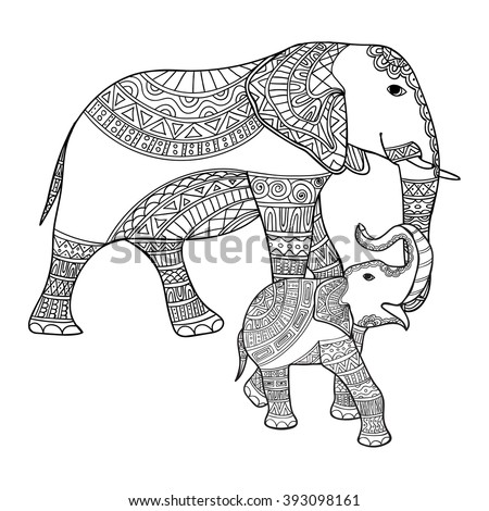 Big and small elephant anti-stress coloring book for adults. Black and white hand drawn vector. doodle,print with ethnic patterns.,tattoo, shirt design, logo,sign.Mother elephant and baby elephant - stock vector