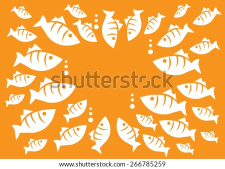 Big and small fishes come together forming a circle for emergency marine meeting. Fun concept for marine life vector cartoon illustration isolated on orange background. - stock vector