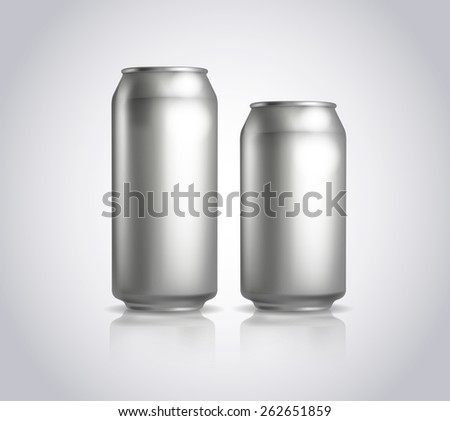 Big and small metal cans composition. Vector illustration of cold drink can isolated. Ideal for cola, soft drinks, soda, fizzy pop, energy drink, juice, etc. Packaging. - stock vector