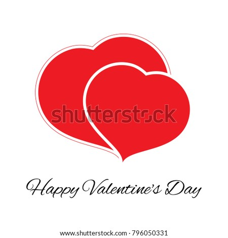 Big and small red heart. Romantic love symbol of valentine day. Vector illustration