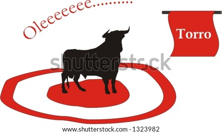 big and strong bull ready for the bullfight with matador in the arena - vector art