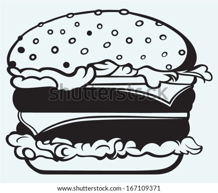 Big and tasty hamburger isolated on blue background - stock vector