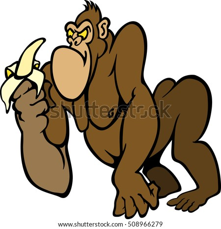 Big angry cartoon Gorilla with a Banana in vector format