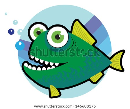Big angry fish cartoon vector illustration - stock vector