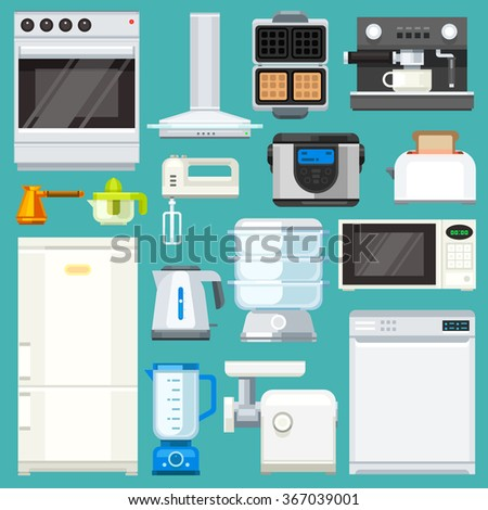 Big  appliance set! Isolated objects: : washing machine, coffee machine with mug, juicer, mixer, microwave oven, mincer, pot, fridge. Flat vector illustration set.  - stock vector