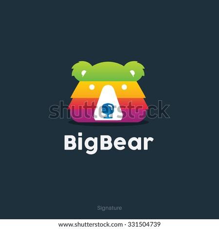 Big Bear Logo,Bear Logo,Vector Logo Template - stock vector