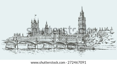 Big Ben in Elizabeth Steeple, old Great Bell at Westminster abbey Palace. Vector freehand ink drawn background sketch in art doodle retro style pen on paper. Panoramic view with space for text on sky - stock vector