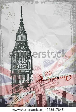 Big Ben, London, England, UK. Hand Drawn Illustration. Vector format - stock vector
