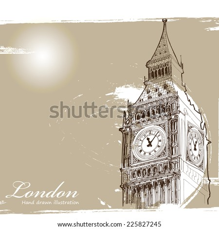 Big Ben, London in vintage style poster, vector illustration - stock vector