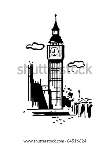 Big Ben - Retro Clipart Illustration - stock vector