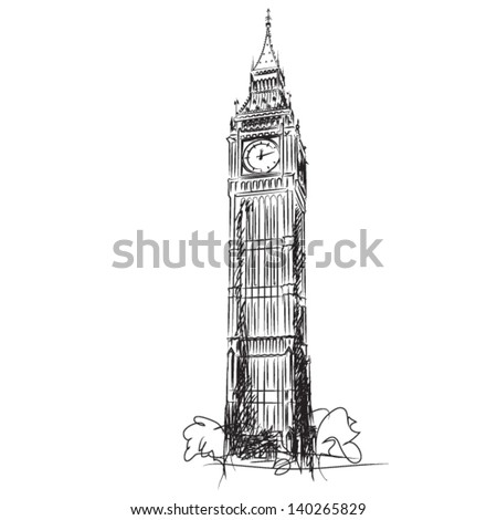 Big Ben - the Clock Tower of the Houses of Parliament, London - vector lineart illustration - stock vector