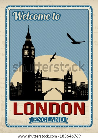 Big ben tower from London in vintage style poster, vector illustration - stock vector