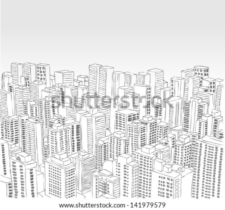 Big black and white city landscape with buildings - stock vector