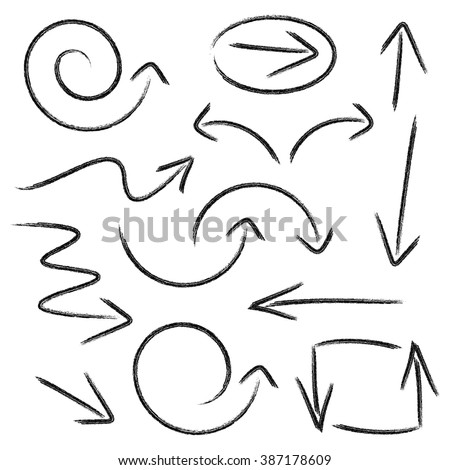 Big black vector hand drawn arrows collection isolated - stock vector