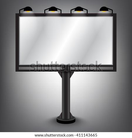 Big Blank Billboard Mockup with Downlights Design For Put Your Advertisement - Vector Illustration - stock vector