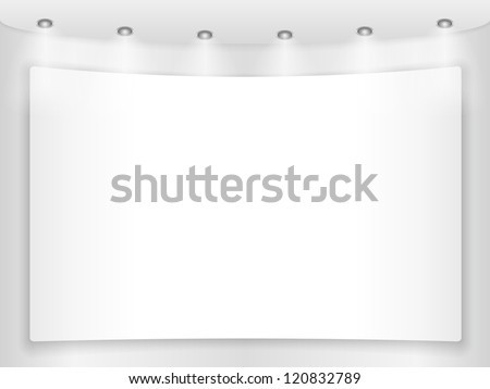Big blank placard on a round wall, vector eps10 illustration - stock vector
