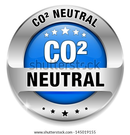 Big blue carbon dioxide neutral button - stock vector