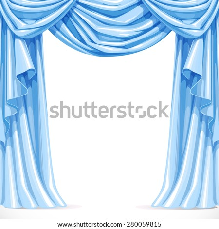 Big blue curtain draped with pelmet  isolated on a white background - stock vector