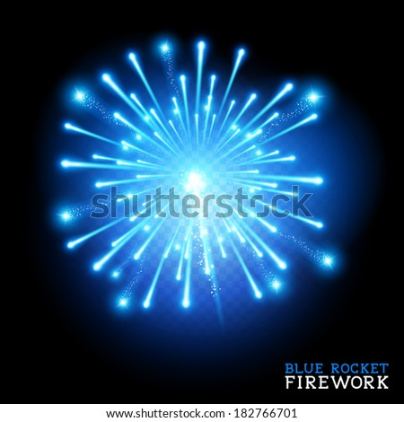 Big Blue Firework - vector illustration - stock vector