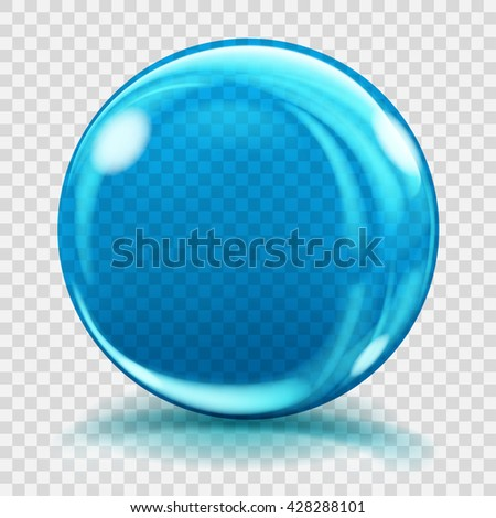 Big blue glass sphere with glares and shadows. Transparency only in vector file - stock vector