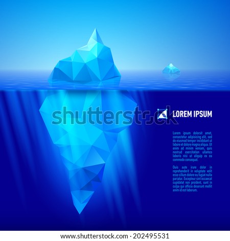 big blue iceberg drifting in the sea. Half of it is under water. - stock vector