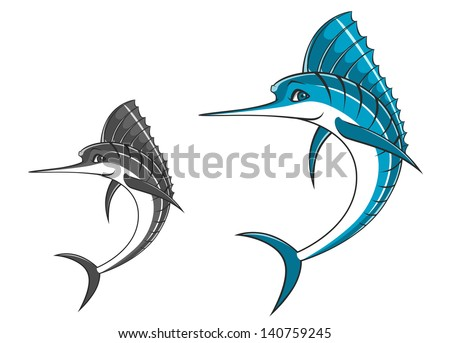 Big blue marlin in cartoon style for mascot ot fishing sport design or template. Jpeg (bitmap) version also available in gallery - stock vector