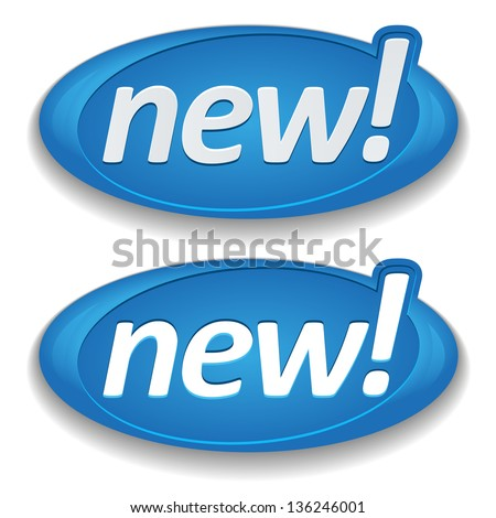 Big blue new buttons - stock vector