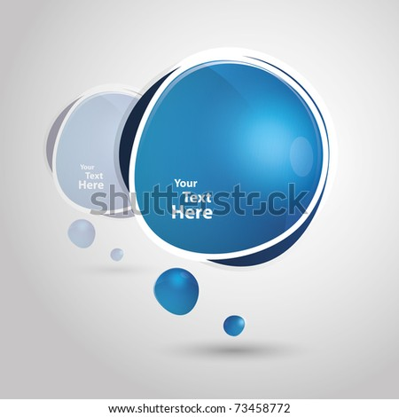 Big blue speech bubble - stock vector