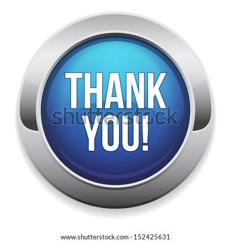 Big blue thank you button - stock vector