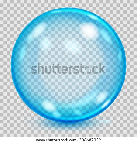 Big blue transparent glass sphere with glares and shadow. Transparency only in vector file - stock vector