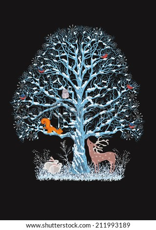 Big blue tree with a flock of bullfinches, a squirrel and an owl on it as well as a reindeer and rabbits near it on the black background - stock vector