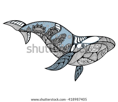 Big blue whale with wavy ornaments and hand drawn shapes. Whale pattern with high details. Ocean fish, mammal. Cartoon whale. Nature and wildlife theme. Whale zentangle style. Vector - stock vector