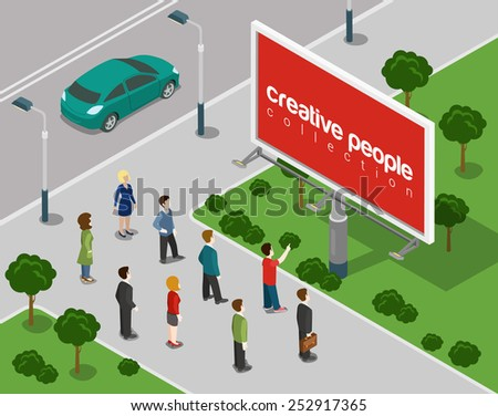 Big board in the city flat 3d web isometric infographic concept vector. Empty background advertising copy space, place your ads, product, logo. Creative people collection. - stock vector