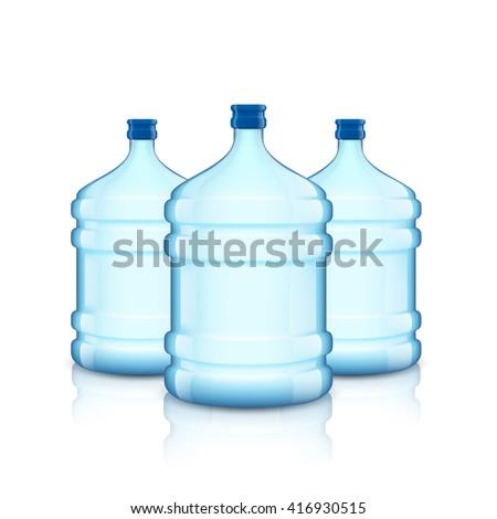 Big bottle with clean water. Plastic container for the cooler. Isolated on white background. Stock vector illustration. - stock vector