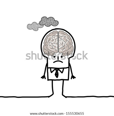 big brain man & pollution - stock vector