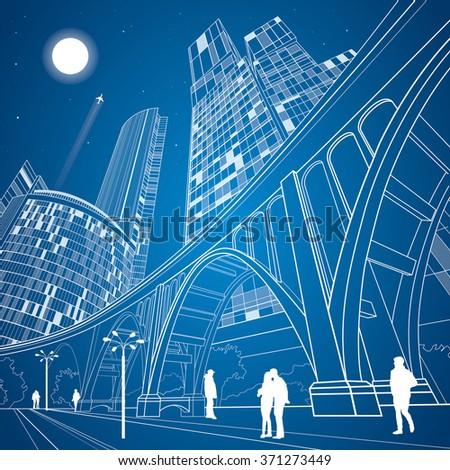 Big bridge, night city on background, vector industrial and infrastructure illustration, vector lines landscape, neon town, vector design art - stock vector