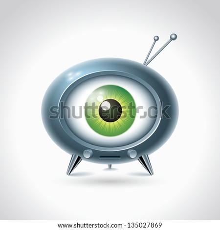 Big brother is watching you. Retro TV on white background. Vector character design. - stock vector