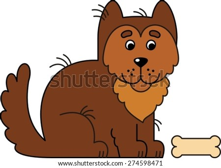 big brown dog with a bone - stock vector