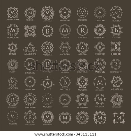 Big bunch of luxury, simple and elegant monogram design templates. Good for labels and logos. Vector illustration. Line style. - stock vector