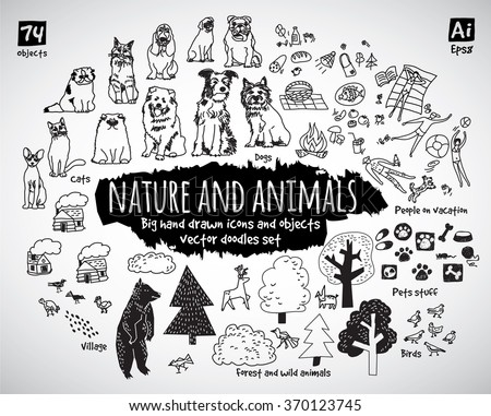 Big bundle animal and nature doodles icons and objects. Black and white vector illustration. EPS8