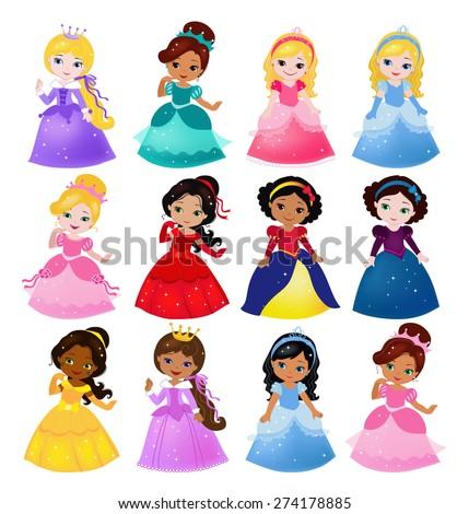 Big Bundle cute collection of beautiful princesses - stock vector