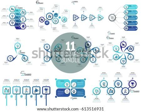 Big Bundle Minimal Infographic Templates Diagrams Stock Vector