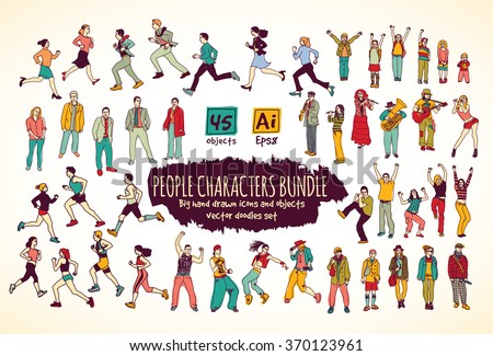 Big bundle people characters doodles color icons. Color vector illustration. EPS8 - stock vector