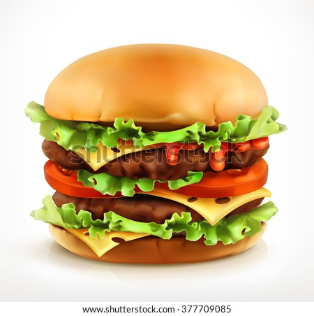 Big burger, vector icon - stock vector