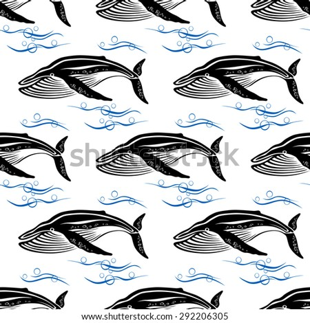 Big cachalots swimming through blue ocean waves with bubbles seamless pattern on white background for wildlife or textile design - stock vector