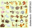 Big cartoon animal set - stock vector