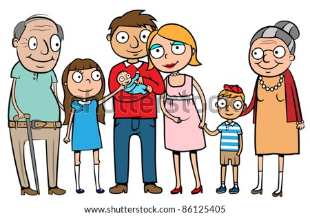 big cartoon family with parents children and grandparents vector illustration